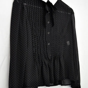 Victorian Sheer Polka Dot Blouse with Collar by rollerskateskinny