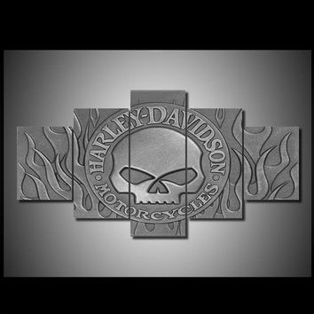 Harley-Davidson Motorcycle Willie G Skull logo with Harley-Davidson lettering  - print on canvas