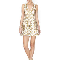 Prescilla Embellished Square Neck Lantern Dress | Alice + Olivia