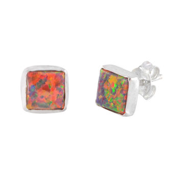 Square Opal Stud Earrings iridescent Orange 7mm Sterling Silver USA