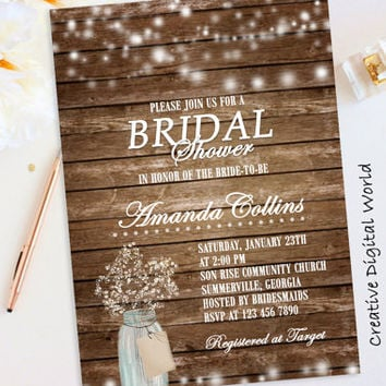 Rustic Bridal Shower Invitation Printable, String Lights Bridal Shower Games Baby's Breath Flowers Mason Jar Wood Digital File Invite