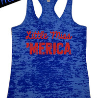 Little Miss 'Merica. Southern Country Tank Top...Royal Blue Burnout Racerback...Little Miss Southern Collection.