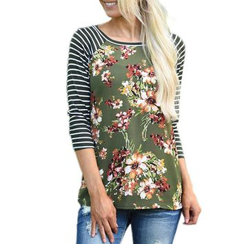 Autumn Ladies Floral Printing tShirts Women Fashion Striped Patchwork Tee Tops Women's Long Sleeve Casual T-Shirt Girls #YL