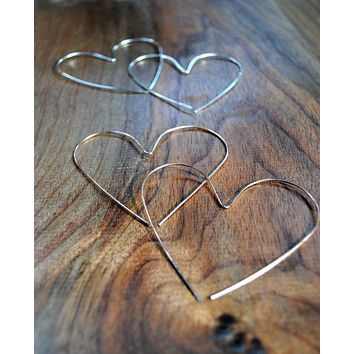 Heart Hoop Earrings - Silver - Gold - Rose Gold