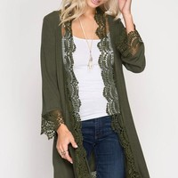 Lace Trim Cardigan - Olive