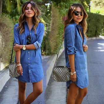Autumn Women Casual Loose Long Sleeved Denim Shirtdress = 1929632964