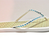Deep Teal Blue Swarovski Crystal Rhinestone Flip Flops / Women's White Bamboo Sandals / Barefoot, Summer, Wedding,
