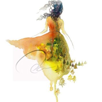 Don't Look Back - Fine Art Print free spirit woman nature child feminine strength fashion sketch watercolor design dress  Oladesign 8x10