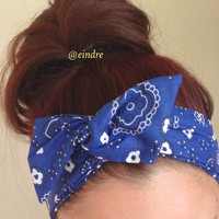 Blue Paisley Bandana Dolly Bow Headband