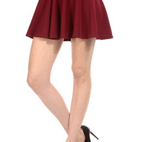Burgundy Mini Skater Skirt
