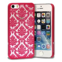 GreatShield TACT Series Design Pattern Rubber Coating Ultra Slim Fit Hard Case Cover for Apple iPhone 5 / 5S (Damask - Pink)
