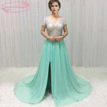 SuperKimJo Beaded Prom Dresses Formal Gowns Mint Green Chiffon A-Line V Neck Prom Gowns with Sleeves Vestido De Festa