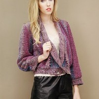 Vintage sweater jacket in textured zig-zag knit in purples and blues | shopcuffs.com