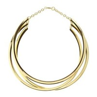 Gold Triple-Stacked Metal Choker Necklace by Charlotte Russe