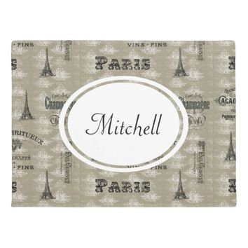 Paris Label French Taupe Personalized Doormat