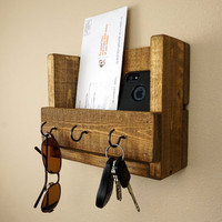 Small Rustic Key Holder and Mail Organizer