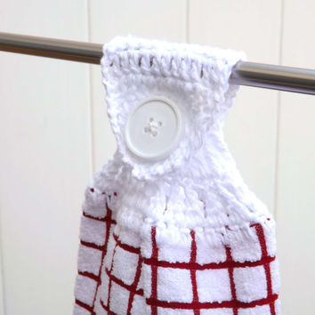 Kitchen Towel - White with Red Checks and White Crocheted Top - Country Chic - Fridge Towel - Oven Towel - Hand Towel - Vintage Inspired