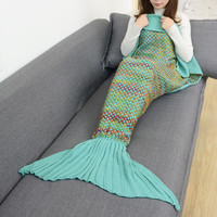 Mint Comfortable Knitted Sofa Bedding Mermaid Tail Blanket Home Gift