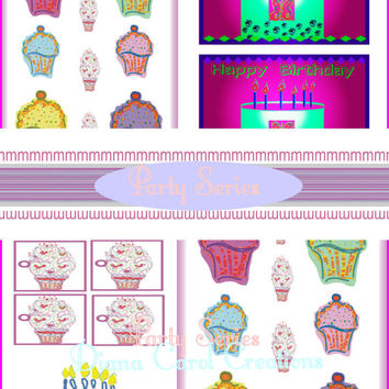 Bright  Pink, Green, Lilac Party Clip Art For Card Making, Gift Tags And Other Fun Party Art Projects