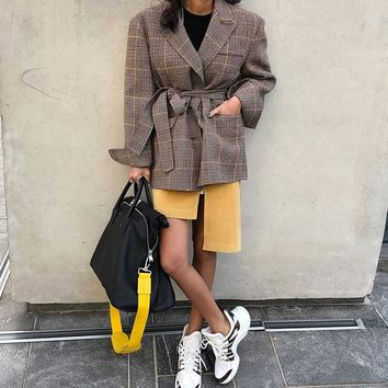 Autumn Winter Bandage Plaid Women Blazer 2018 Vintage Single Breasted Loose Casual Female Jacket Streetwear Suit Coat