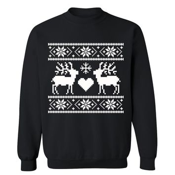 Reindeers Love Cute Funny Christmas Ugly Sweater Holiday X-mas Party Crewneck for Men and Women