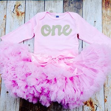 Pink Fluffy pettiskirt tutu with pink long sleeve gold glitter one Onesuit- girls 1st Birthday outfit Christmas- girls first birthday outfit