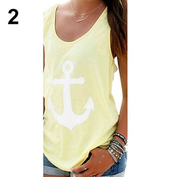 Loose Vest Casual Tank Top - Blouse Anchor Logo - Bowknot Back - Yellow