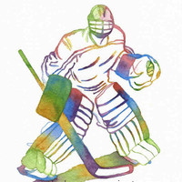 Ice Hockey Goalie Olympic Sport Athlete Painting Art Print Watercolor of Original Barbara Rosenzweig, Home Decor Birthday Boy Man Gift