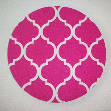 Chevron Mouse Pad mousepad / Mat - round - pink quatrefoil trellis - Computer Accessories decor  Custom Desk Coworker Gifts Office