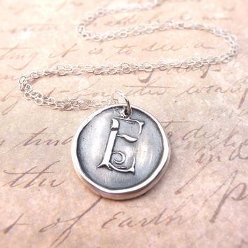 Personalized initial wax seal pendant monogram necklace letter E hand stamped from recycled silver, ready to ship