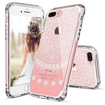 DCCKV2S iPhone 7 Plus Case, MOSNOVO White Henna Mandala Scratch resistant Case with Transparent Hard Plastic Back Case and Flexible TPU Bumper Case Cover for iPhone 7 Plus (2016) - Clear