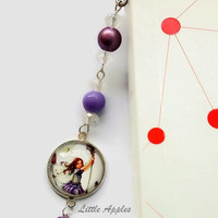 Lavender flower fairy, beaded bookmark, purple white, book lovers gift, teachers present, students, readers, nature lovers, fairy lovers