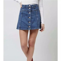 2016 new Women fashion A-line mini jeans skirt lady blue denim high waist skirt with Button