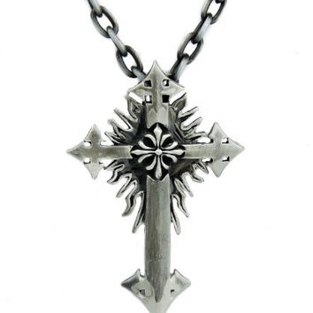 Sun Fire Burst Cross Necklace Holy Gothic Pendant Jewelry