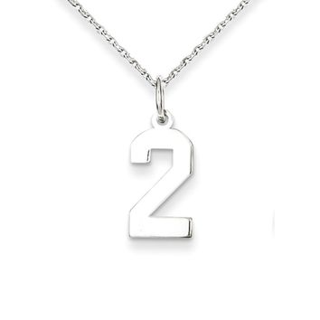 The Athletic Polished Number 2 Necklace in Sterling Silver - 18 Inch