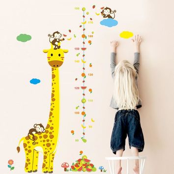 Cute giraffe animals stack height measure wall stickers decal kids adhesive vinyl wallpaper mural baby girl boy room nursery dec