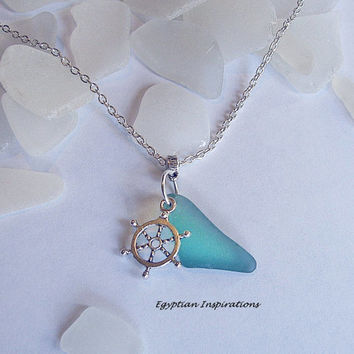 Aquamarine sea glass necklace. Beach sea glass jewelry. Ships wheel necklace.
