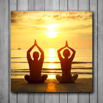 Yoga Beach Poses Photo Panel - Durable Finish - High Definition - High Gloss