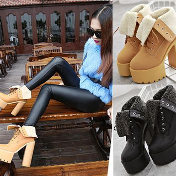 Platform Lace Up Warm High Chunky Heel Half Riding Boots