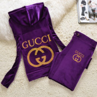 Gucci New pleuche velvet casual wear tracksuit cultivate one's morality Purple