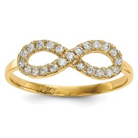 14k Yellow Gold CZ Infinity Symbol Ring