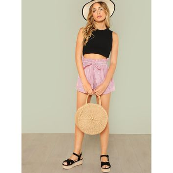 Multicolor Frilled Waist Belted Striped Shorts