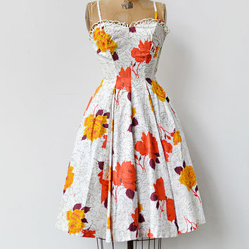 vintage 1950s orange rose print summer dress [Roseraie di Marne Dress] - $218.00 : ADORED | VINTAGE, Vintage Clothing Online Store