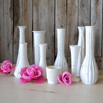 Shabby Chic White Wedding Decor Bud Vases - Set of 12