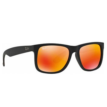 RayBan Justin Color Mix Sunglasses - Black Red Mirror - 4165 54-16