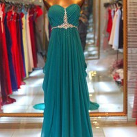 Gorgeous A-line Sweetheart Sweep Train Beaded Prom Dress