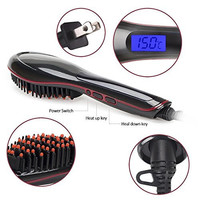 OU-BAND Hair Straightening Brush, Fast Natural Straight Hair Styling, Anti-Scald, Anion Hair Care, Massage Straightening Irons, Detangling Hair Brush - Black