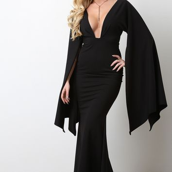 Plunging Neck Open Sleeve Mermaid Maxi Dress