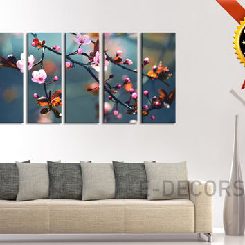 Canvas Print Almond Tree Art Photo Prints For Wall, 5 Panels Framed Ready to Hang, Cherry Blossom Prints On Canvas, 100% Quality Prints