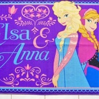 Disney Frozen Elsa and Anna Purple Accent Area Rug Skid Resistant 40 x 54 Inch